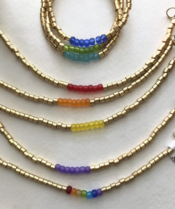 Chakra Pride Matte Glass Bead Bracelet - Rainbow