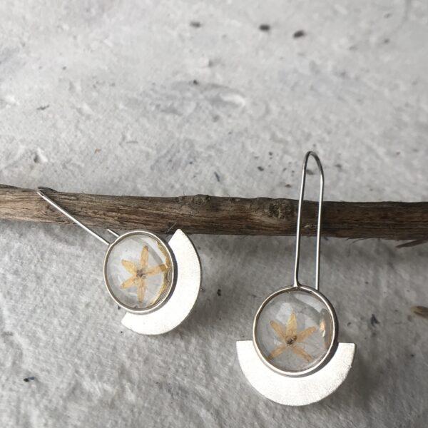 Half Moon 'Blooms in Resin' Earrings- Sterling
