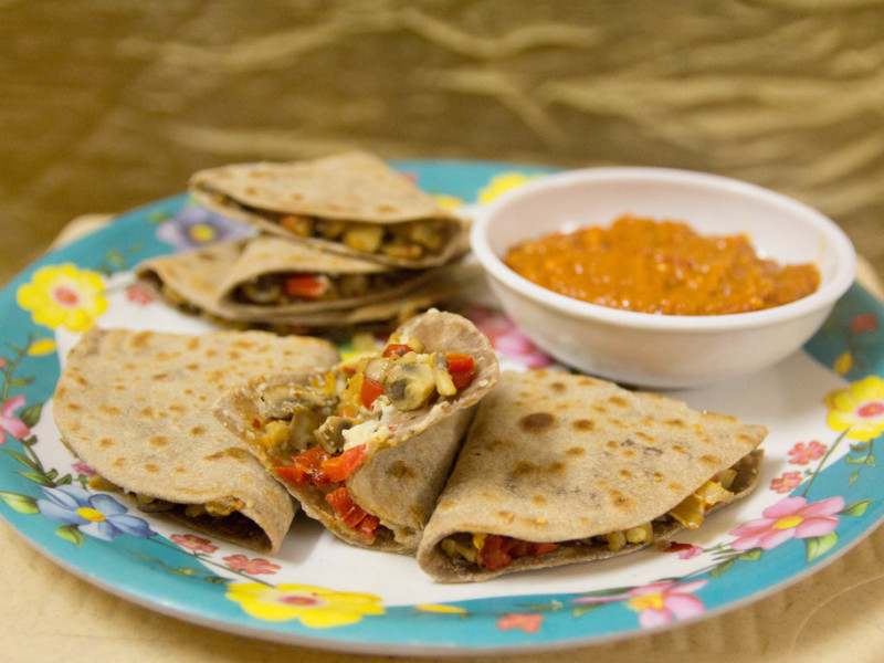Veg Quesadilla with Enchilada sauce