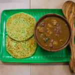 Coriander dosa with Chettinadu Mushroom gravy