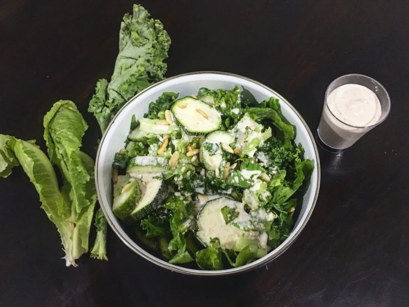 Green leafy Salad with Tahini cheese sauce