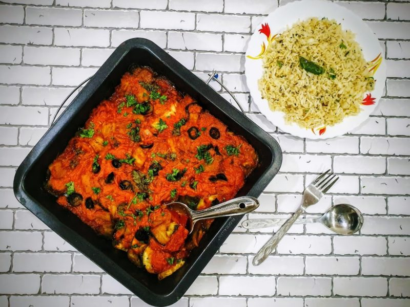 Baked Vegetables in Tomato sauce   Aubergine bake in Red sauce
