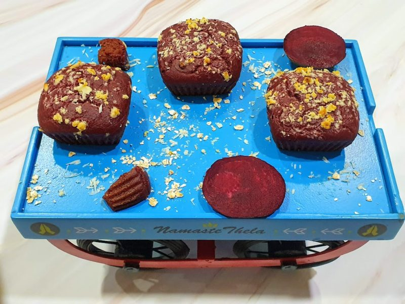 Eggless Whole wheat Oats Red Velvet Beetroot Muffin