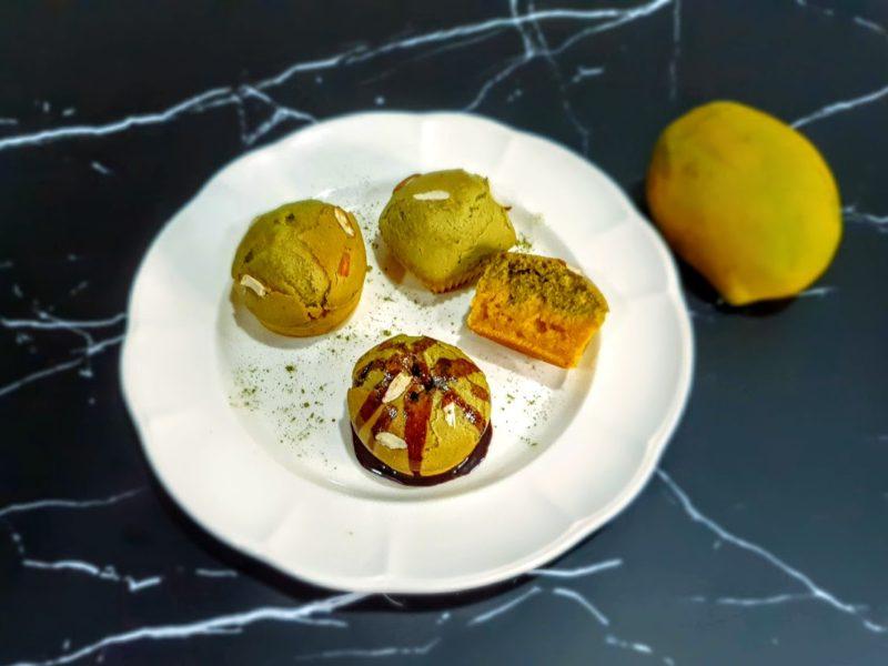 Eggless Mango Matcha layer Muffin