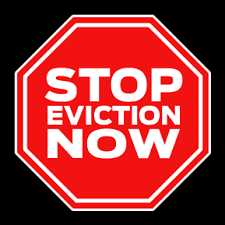 stop sign that says stop eviction