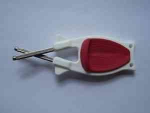 White Kitchen knife sharpener with Red grip online.