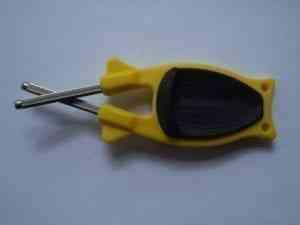 Yellow pocket knife sharpener with Black grip for sale online.