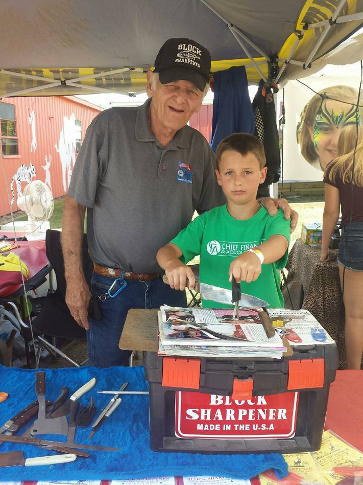 Block knife sharpener at the Imlay city fair.