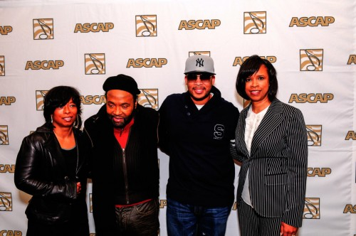 """Maurette Brown Clark, Andrae Crouch, James Fortune & Pastor Taffi DollarPhoto credit:ASCAP/ Picture Group and event title as """"ASCAP Morning Glory Stellar Awards Breakfast Reception."""