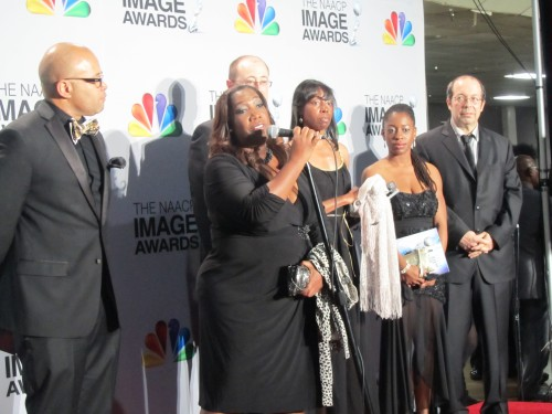 Executive Producer for TV One is Toni Judkins, addresses media questions at the 44th Annual NAACP Awards.  Photo:  The Chocolate Voice