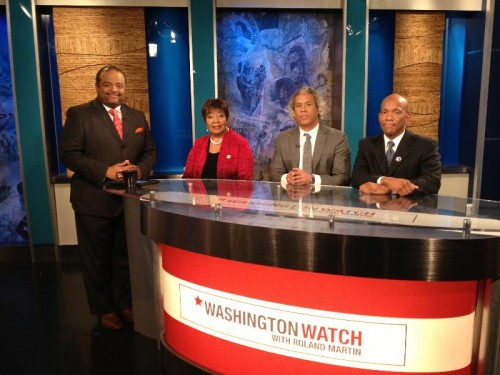 """Host Roland Martin is joined by (L-R) Representative Eddie Bernice, Khary Lazarre-White, and Steven W. Hawkins this week on """"Washington Watch."""" (Photo courtesy of Nu Vision Media / The FrontPage Firm)"""