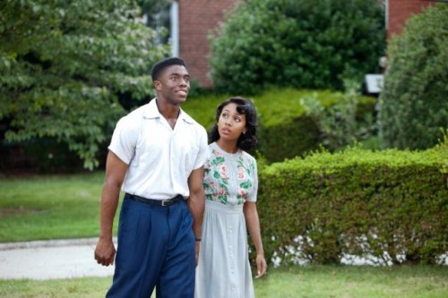 Chadwick Boseman, as Jackie Robinson, with Nicole Beharie in '42'