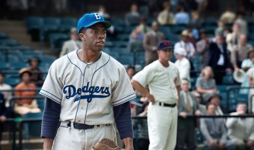 Chadwick Boseman Stars as Jackie Robinson Photo:  Warner Brothers