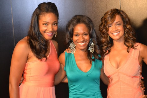 "Tammy Townsend (R), ""Family Matters,"" and ""The Preachers Kid,"" and fellow actresses. Photo credit:  The Chocolate Voice"