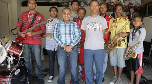 Members of the Young Ethio Jazz Band (Photo:  Noam Eshel)