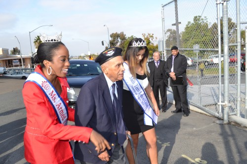 Tuskegee Airmen, Al Harris escorted in by Ms. Armed Forces and Miss Teen Lemon Grove