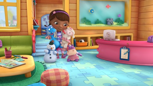 "DOC MCSTUFFINS - ""Doc McStuffins,"" an imaginative animated series about Doc McStuffins, a six-year-old girl who runs and operates a clinic for broken toys and worn out stuffed animals out of the playhouse in her backyard, will debut with the launch of the new 24-hour Disney Junior channel in 2012. (DISNEY JUNIOR) CHILLY, STUFF, DOC MCSTUFFINS, LAMBIE, HALLIE"