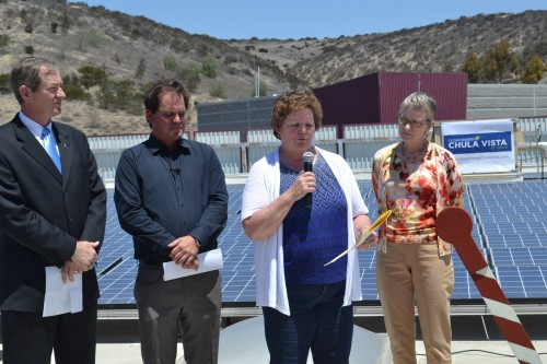 From L-R, Len Hering., Executive Director-California Center for Sustainable Energy, Daniel Sullivan, President/Founder of  Cheryl Cox, Mayor of Chula Vista and Stacey Lawson, Ygrene Energy Fund President and CEO