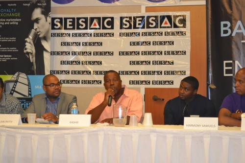 Iconic and Grammy award winning producer Kashif (C) panelist for The State of R&B Music 2014:  Is the Genre Still Relevant. (L) Julian Petty (Entertainment Attorney), (R) Harmony Samuels, Songwriter/Producer