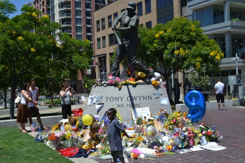 Fans gather In San Diego at Petco Park to pay homage to the Hall of Famer.