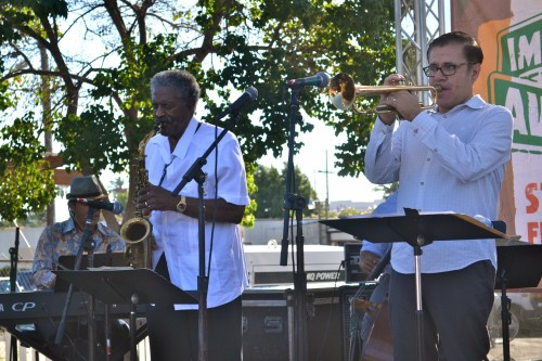 Internationally-known jazz saxophonist, Charles McPherson (L) and trumpet virtuoso Gilbert Castellaneous