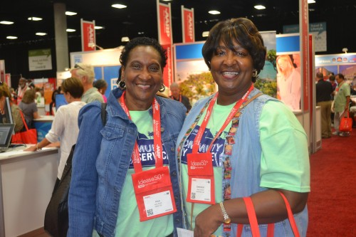 Alice Smith (L) and Gwendolyn Johnson (R) both of Georgia, attend AARP conferences every year.