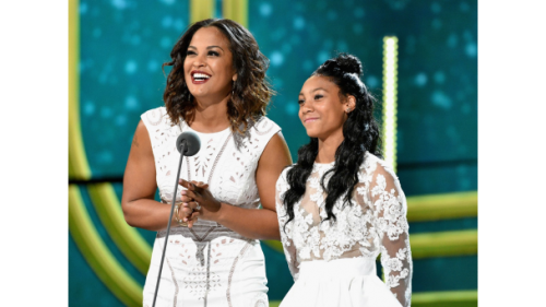 Mo'Ne Davis  and Laila Ali on stage to present an award at the Soul Train Awards.