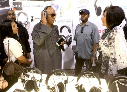 "On January 23, musician STEVIE WONDER, dubbed the official ""Mayor of the NAMM Show,"" enjoys a walk into one of thousands of music products and technologies booths at the 2015 National Association of Music Merchants (NAMM) Show, held at the Anaheim Convention Center."