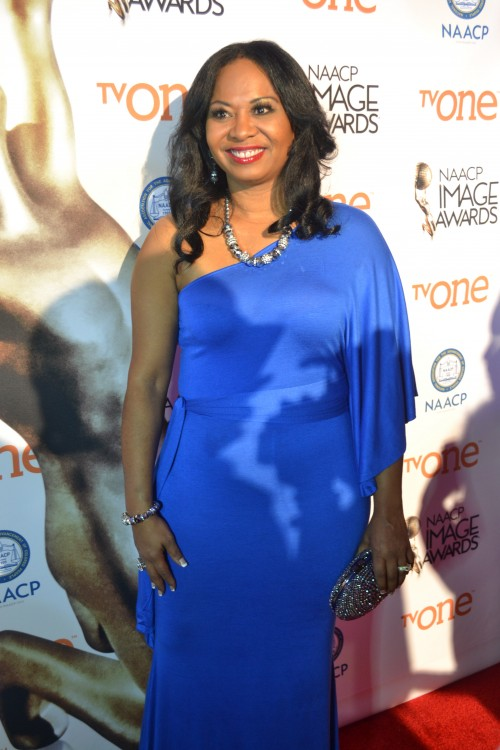 """Deanna Brown Thomas, daughter of James Brown, """"The Godfather of Soul"""" representing """"Get On Up"""" starring Chadwick Boseman."""