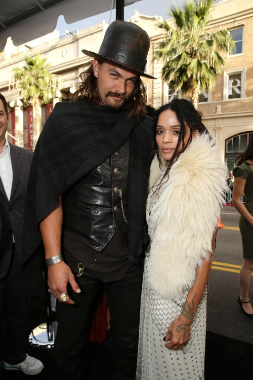 """Jason Momoa and Zoe Kravitz seen at the Warner Bros. premiere of """"Mad Max: Fury Road"""" on Thursday, May 7, 2015, in Los Angeles. (Photo by Eric Charbonneau/Invision for Warner Bros./AP Images)"""