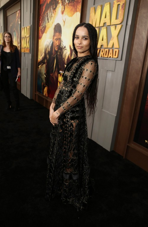 """Zoe Kravitz seen at the Warner Bros. premiere of """"Mad Max: Fury Road"""" on Thursday, May 7, 2015, in Los Angeles. (Photo by Eric Charbonneau/Invision for Warner Bros./AP Images)"""