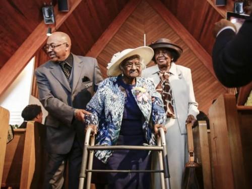 Photo: Jarrad Henderson.  This photo was taken on Jeralean Talley's 115th birthday  at New Jerusalem Baptist Church in Inkster, Michigan.