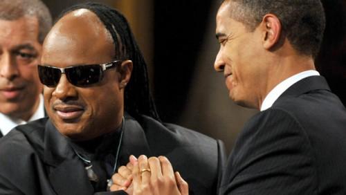 Barack Obama and Stevie Wonder.