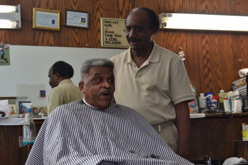 Barber Walter Hopkins still enjoys cutting hair and good conversation.