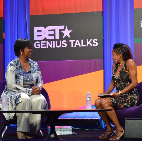 At the 2014 BET Experience, actress Regina King interviews Dr. Mae Jemison, the first African American woman to travel to space. Photo: The Chocolate Voice