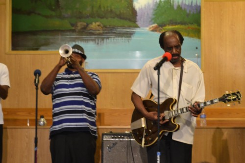 Walter on the right playing his guitar in 2014 at the Gospel Jubilee, held at Grace Temple Baptist Church in Tucson, AZ.