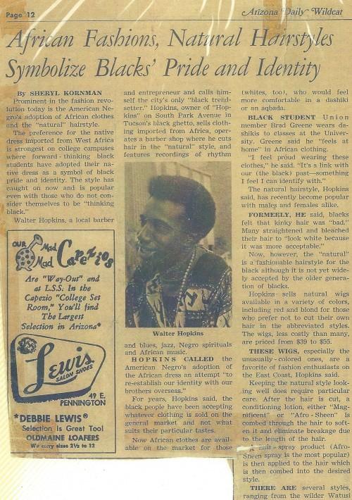 Walter Hopkins being interviewed by Sheryl Kornman, Arizona Daily Wildcat (1966)