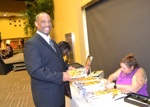 John ( no last name given) was on hand to welcome the Congressman and to purchase the graphic novel series.