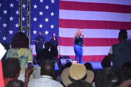 Grammy-award winning artist, Erica Campbell performs aboard USS Midway on Sunday, July 26, 2015.