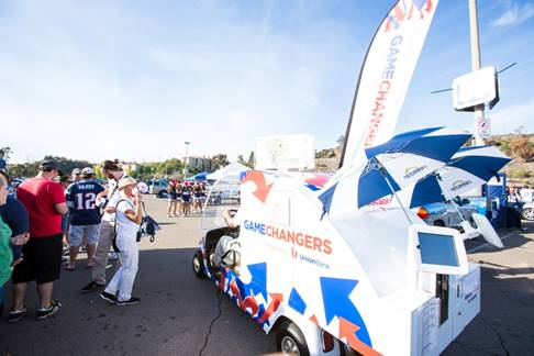 The Game Changers Mobile can also be found driving around the Qualcomm Stadium parking lot before home games for the remainder of the 2015 regular season.