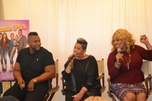 (L-R) Tim Norman, Miss Robbie Montgomery and Kym Whitley at at Q&A at OWN studios in Los Angeles.