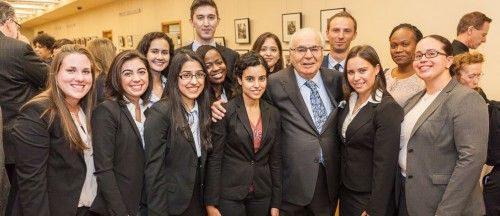 This is a picture of Mr. Koppelman with the Student Leadership Council for the business school. Photo courtesy Brookly College.