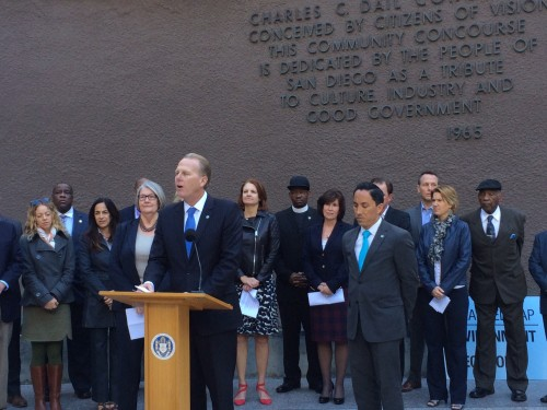 San Diego Mayor Kevin Faulconer speaking at his press conference on Tuesday
