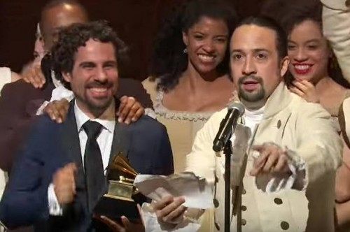 """Hamilton"" music director Alex Lacamoire and creator/star Lin-Manuel Miranda accept the Grammy for best musical theater album with the cast.(Credit: CBS)"