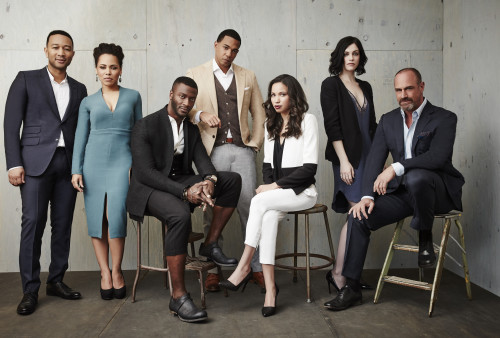 PASADENA, CA - JANUARY 08: (L-R) Executive producer John Legend and actors Amirah Vann, Aldis Hodge, Alano Miller, Jurnee Smollett-Bell, Jessica de Gouw and Chris Meloni of WGN America's Underground poses in the Getty Images Portrait Studio at the 2016 Winter Television Critics Association press tour at the Langham Hotel on January 8, 2016 in Pasadena, California. (Photo by Maarten de Boer/Getty Images)