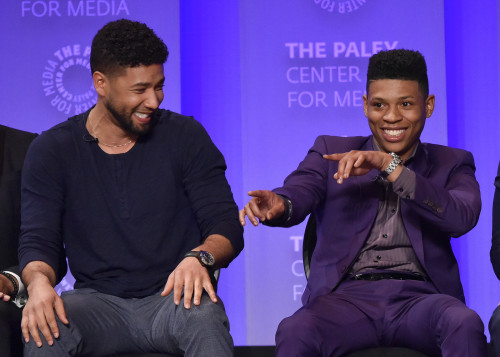 Jussie Smollett (Jamal Lyon) and Bryshere Y. Gray (Hakeem Lyon) share a playful moment on stage at PaleyFest.