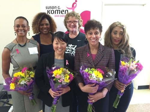 PHOTO 1- Dr. Suzanne Afflalo, M. D., Kaiser Family Practice, Retired; Lorraine Hutchinson, director of community relations, Susan G. Komen San Diego; Dr. Kristine Lethert, M.D., Kaiser Oncologist, Hematology and Oncology; Marti Emerald, Council President Pro Tem District 9; Dr. Rae Boganey, M.D., Kaiser Family Practice, Internist, Trena Louise Bennett, Wellness and Lifestyle Expert