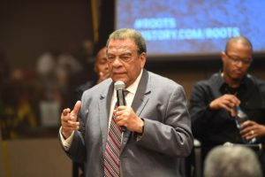 """""""ATLANTA, GA - MAY 09: Andrew Young speaks onstage at HISTORY's """"Roots"""" Atlanta advanced screening at National Center for Civil and Human Rights on May 9, 2016 in Atlanta, Georgia. (Photo by Paras Griffin/Getty Images for History/Roots)"""""""