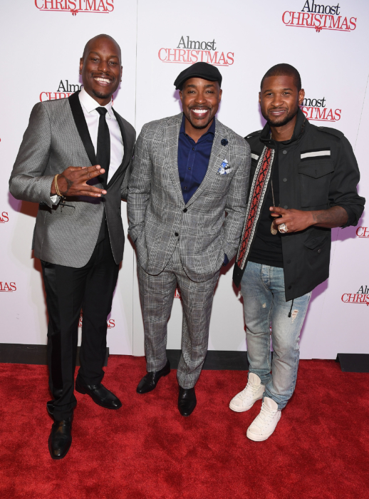 """ATLANTA, GA - OCTOBER 26: Tyrese Gibson, Will Packer and Usher Raymond attend """"Almost Christmas"""" Atlanta screening at Regal Cinemas Atlantic Station Stadium 16 on October 26, 2016 in Atlanta, Georgia. (Photo by Paras Griffin/Getty Images for Universal Pictures)"""