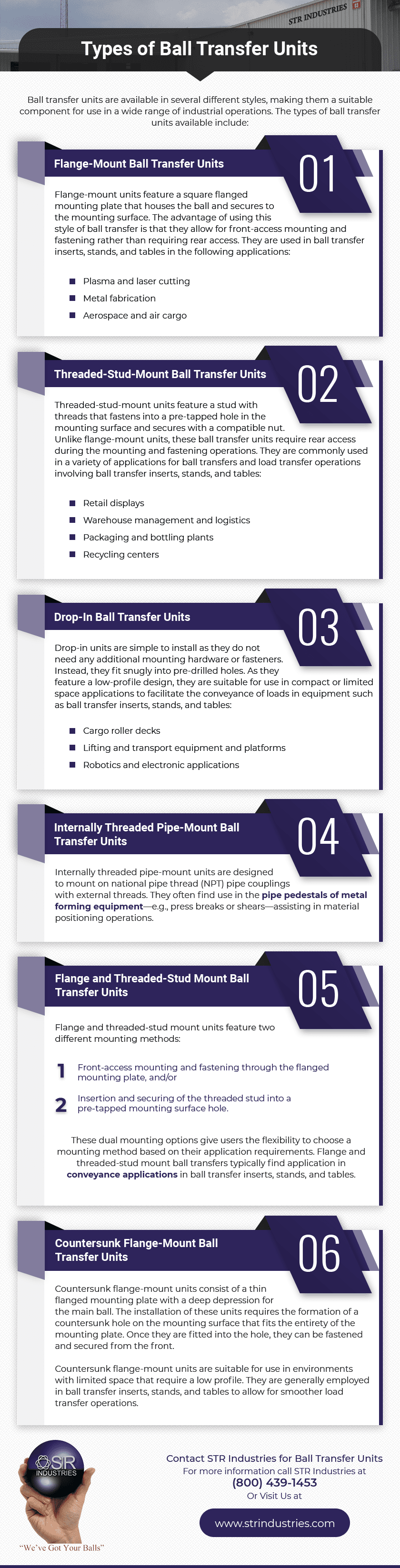Types of ball transfer units infographic